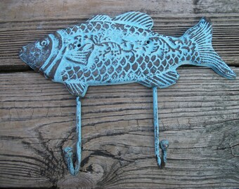 Cast Iron Fish Hook - Fish Towel Hook - Beach House Decor - Nautical Wall Hook  - Nautical Decor - Housewarming Gift - Cast Iron Wall Hook