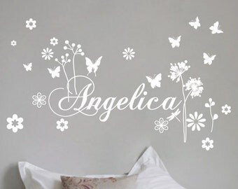 StickTak Stickers Custom Name & Butterfly Vinyl Wall Sticker for Girls Removable Art Decal