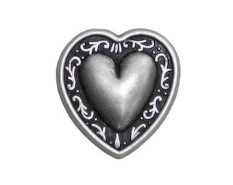 12 Tiny Bern Heart 1/2 inch ( 12 mm ) Metal Buttons