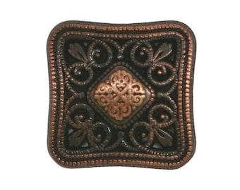 2 Newbury Square 5/8 inch ( 15 mm ) Metal Buttons Antique Copper Color