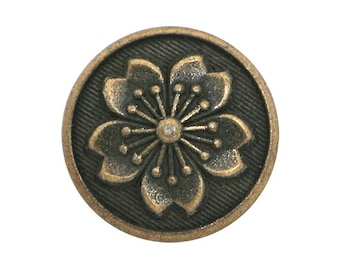 12 Snowflake Flower 5/8 inch ( 15 mm ) Metal Buttons Antique Brass Color