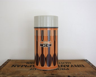 Vintage Retro Cream, Mustard Orange, and Brown Thermos - Large