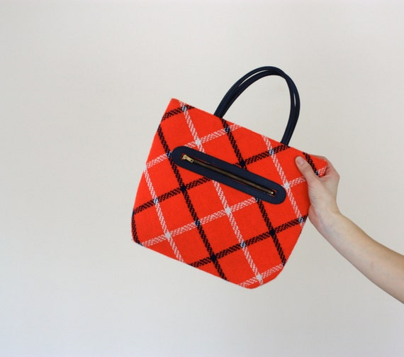 Red White and Navy Blue Square Quilted Plaid Purse by Margaret Smith