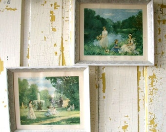 Vintage Framed Prints Donald Art Co. Inc. NYC Printed in Holland L. Desmarest Flower Gatherers The Fountain