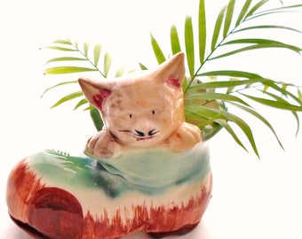 Vintage Cat In A Boot Ceramic Planter Or Vase Made In Japan Turquoise Blue, Chestnut Brown, Ivory, Beige