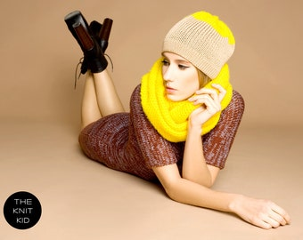 Beanie beige yellow merino mohair color block knitted hat theknitkid THE KNIT KID