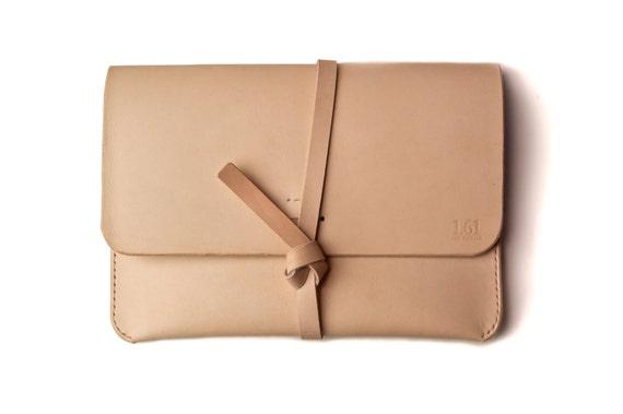 Leather iPad Case/Portfolio - Nude(Natural) color  Made from veg tan leather, 100% hand stitched.