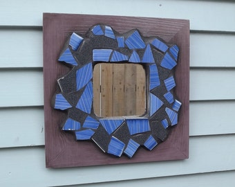Mosaic Mirror, Wooden Purple Frame Mirror, Blue and Black Mirror, Tile Mirror, Square Mirror, Hallway Mirror, Home Decor, Entry Way Mirror