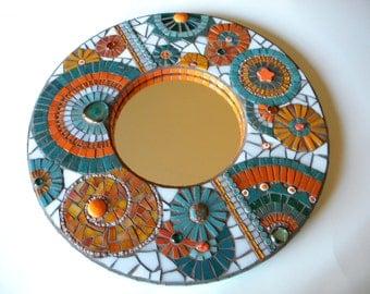 Orange & Teal Mosaic Mirror, Home Decor, Wedding Gift, Miami Dolphins, Round Mirror, Bathroom Mirror, Abstract Mosaic Mirror