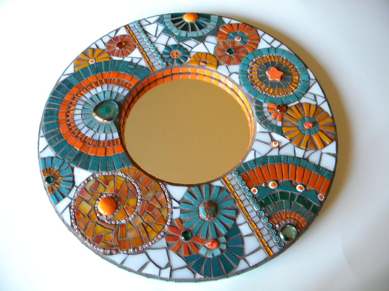 Orange teal mosaic mirror home decor wedding gift miami for Mosaic mirror