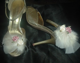 Champagne Ivory or other colors Feathers with bits of veiling and Roses Shoe Clips