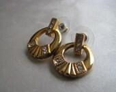 1970s Vintage Goldtone Post Earrings - Swing Earrings - Goldtone Stud Earrings