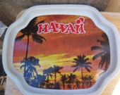 Vintage Hawaii tray with sunset
