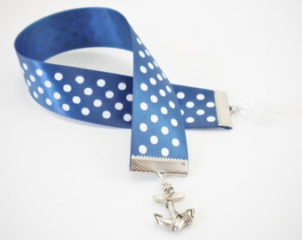 Nautical Blue and White Anchor Ribbon Bookmark, Gifts Under 10