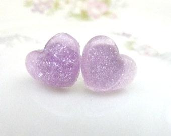 LAVENDER PURPLE HEART post earrings stud glitter acrylic resin