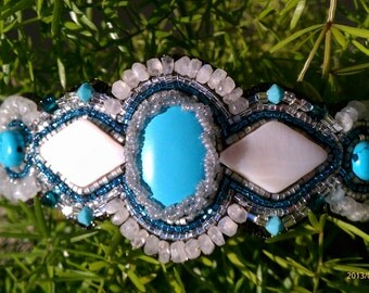Turquoise blue and white shell beadwork/beaded bracelet
