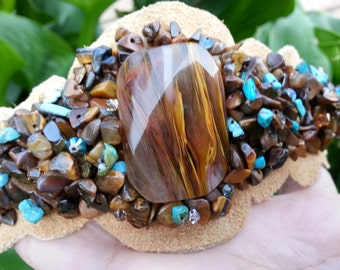 Tigers eye and real turquoise leather bracelet