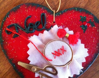 Sewing Christmas ornament or gift tag