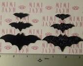 6 CUSTOMIZABLE Polymer Clay Bat Flatbacks - Color Options/Glitter Accents