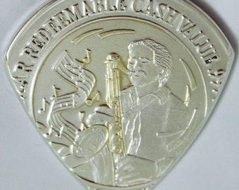 Coin Guitar Pick 1995 Harrah's Sax Player 99.9% Silver Over 1 oz