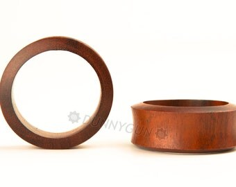 "1 5/8"" (1&5/8"") Pair Hollow Indonesian Mahogany Wood Plugs Organic Hand Carved Body Piercing Jewelry"