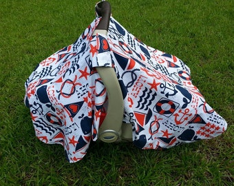 Nautical Car Seat Cover in Ahoy Matey by Michael Miller / Ahoy Matey Baby / Nautical Car Seat Canopy Cover / Nautical Car Seat Tent