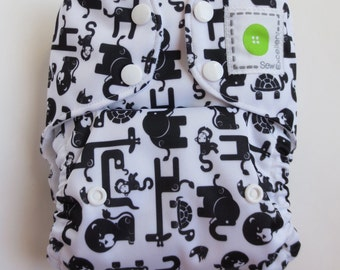 Reusable One Size Black and White Zoo Cloth Pocket Snap Diaper