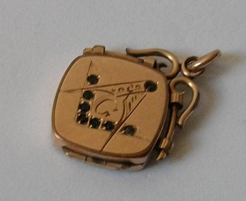 Antique Masonic Gold Pocket Watch Fob Charm Locket