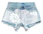 SALE Low rise shorts with lace, lace shorts S