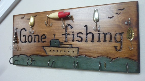 Out Fishing - Wood Carved Key Holder