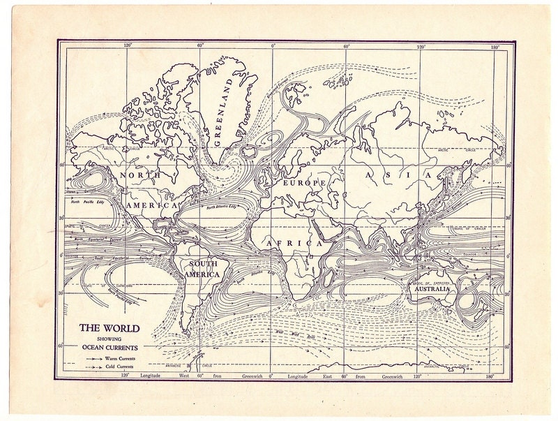 Vintage black and white globe images vintage black and white map world map ocean currents 1931 gumiabroncs Choice Image