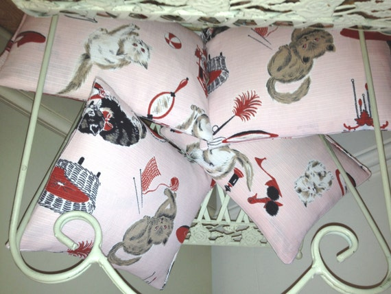 Vintage Kitten Fabric Pink, Handmade Embroidery Stitched Throw Cushions