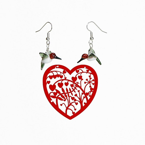 Hummingbird Glass Earrings, Lampwork Glass Bead, French Hook