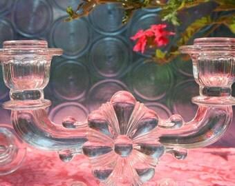 Vintage Candelabra Set, Pressed Glass, Glass Candlesticks Glass Candle Holders