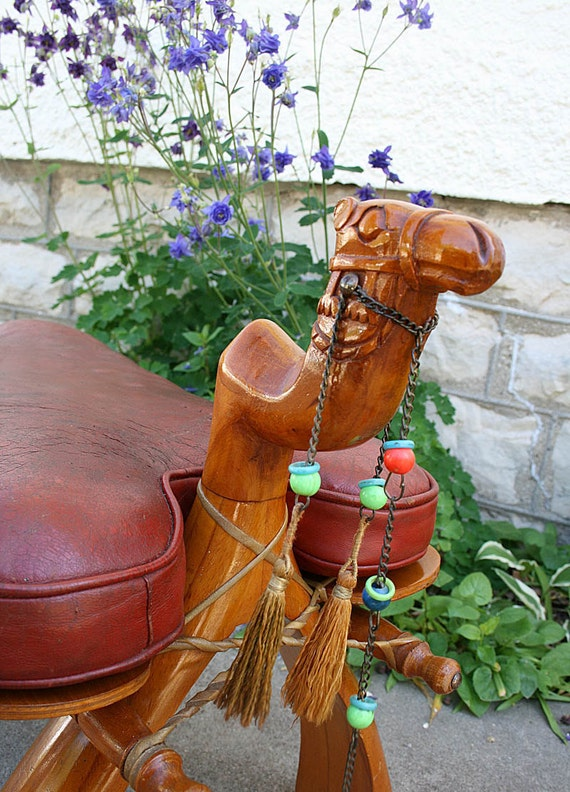 Vintage Camel Saddle Seat Footstool Ottoman 1970s 70s