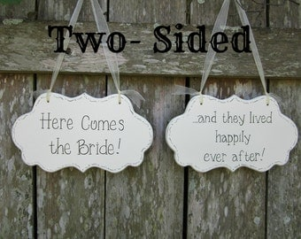 "Wedding sign, Flower Girl / Ring Bearer Two-Sided Painted Cottage Chic Sign, ""Here Comes the Bride"" / ""and they lived happily ever after."""