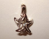 "Pick A Pearl Cage Silver Star Starfish Charm Holds a Pearl Bead Gem 18"" Silver Necklace"
