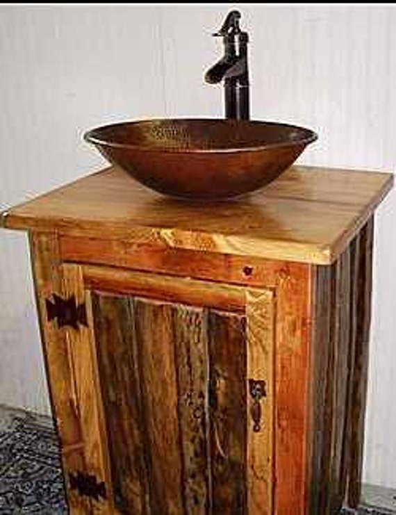 Rustic Bathroom Vanity With Copper Vessel Sink By