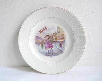 Antique MONTH of the YEAR Plate, MARCH French Breakfast Plate, Birthday Plate, Stamped l'Amandinoise, St Amand, France.