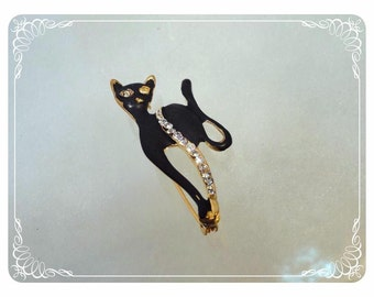 Black Kitty Cat Brooch Pin - Enamel Feline Strutting Her Rhinestones  Vintage Modernist1463a-030513010