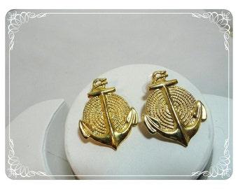 Anchors & Rope Earrings -  Vintage Pierced Earrings  E499a-041412000