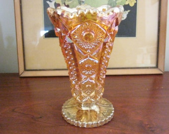 Vintage 6 Inch Imperial Glass Marigold Carvival Vase Lace Pattern