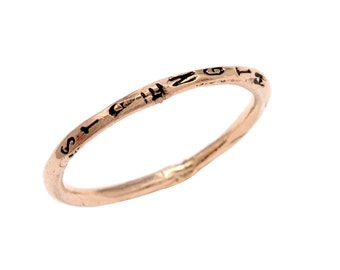 14K Rose Gold Handmade stackable band Friendship Ring - Unique Handmade Jewelry