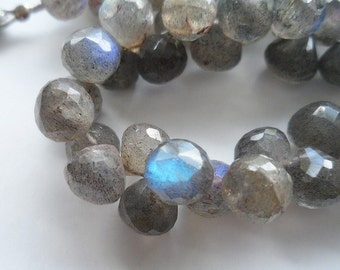 FULL STRAND, 7-8mm Faceted Labradorite Onion Cut Briolette AA Semi Precious Gemstone Beads
