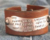 My Reality - upcycled leather cuff-hand stamped silverware jewelry