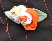 Brooch ,Flower Pin,with Japanese Silk Kimono fabric,Rose