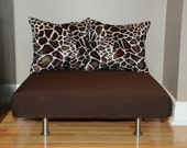 """24""""x24"""" Brown Denim Upholstered Pet Bed / Cat Bed / Small Dog Bed /// Pet Lounger with 2 Giraffe Faux Fur Pillows"""