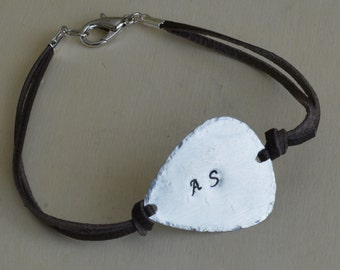 Father's Day Gift - Handmade and Hand Stamped Guitar Pic Leather Bracelet- Personalized Bracelet for Men and Women