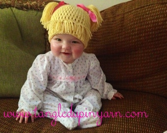 Toddler or Child Cabbage Patch Kid Hat with Pig Tails Choose your own color