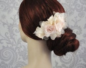 Bridal Hair Flower, Silk Flower Hair Accessories in ivory, white, or blush, Bridal hairpiece, Bridal hair Comb with silk flowers - 103HP